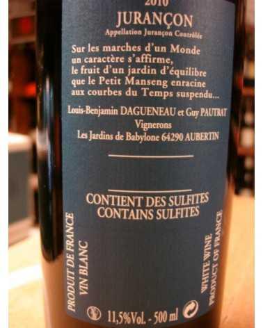 JURANCON MOELLEUX LES JARDINS DE BABYLONE DIDIER DAGUENEAU 50 cl 2010