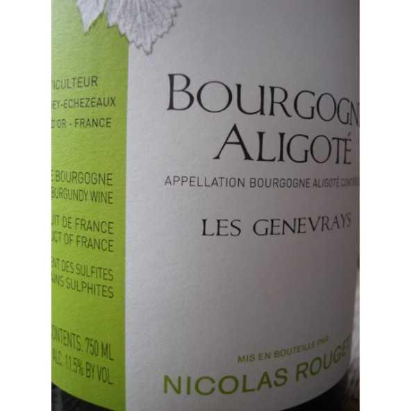 BOURGOGNE ALIGOTE LES GENEVRAYS NICOLAS ROUGE 2012T