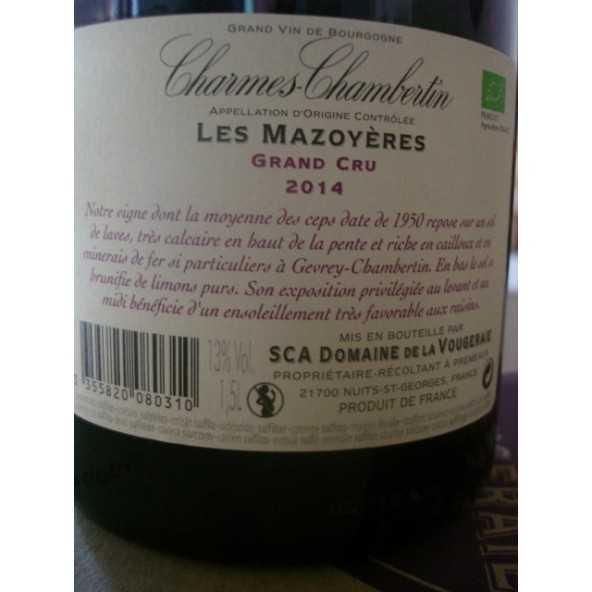 CHARMES CHAMBERTIN Les Mazoyeres Magnum  LA VOUGERAIE 2014