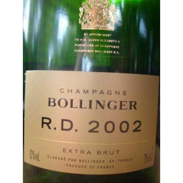 CHAMPAGNE BOLLINGER RD 2002 COFFRET