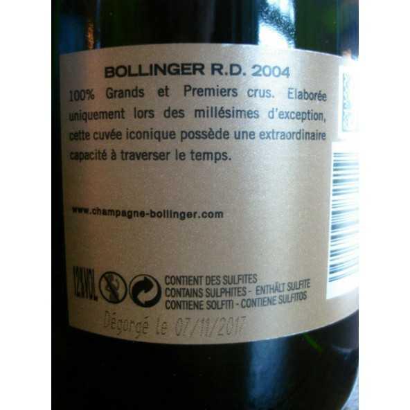CHAMPAGNE BOLLINGER RD 2004
