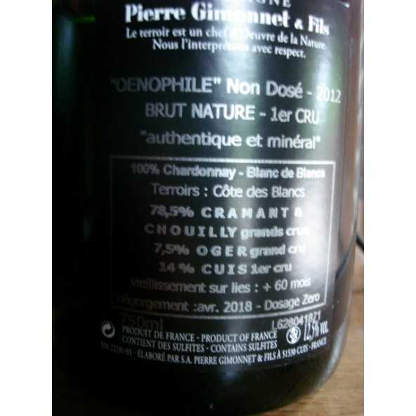 CHAMPAGNE GIMONNET EXTRA BRUT OENOPHILE 2012